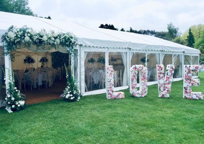 Marquee reception in the Walled Garden